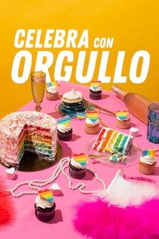 Composición de la fiesta del día mundial del orgullo con pastel