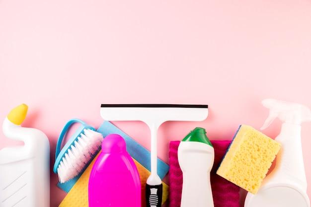 Composición flat lay de concepto de limpieza