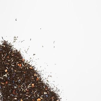Composición flat lay de hojas de té