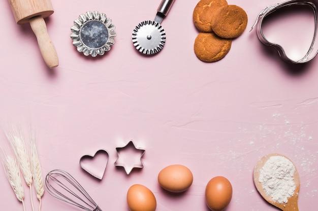 Composición flat lay de panadería con copyspace