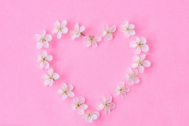 Composición de flores. corona de flores de manzano sobre fondo rosa pastel.
