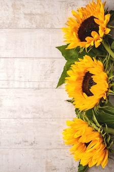 Composición de flores de girasoles amarillos sobre una madera blanca