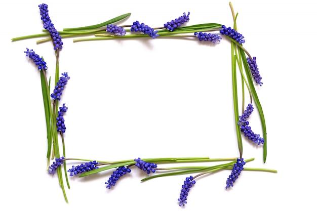 Composición de flores marco hecho de flores de primavera azul