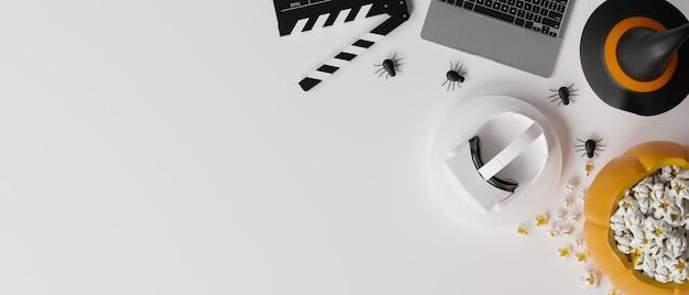Composición de la frontera espacio de copia de noche de película casera de halloween sobre fondo blanco representación 3d
