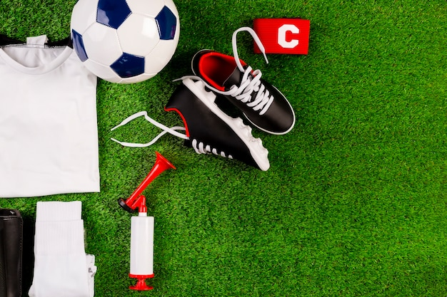 Composición de fútbol de vista superior