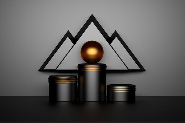 Composición geométrica abstracta con pedestales negros brillantes podios anillos de oro esfera bola y triángulos que parecen montañas