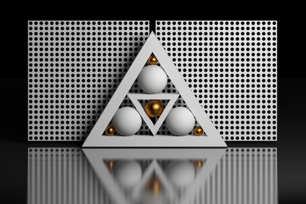 Composición geométrica con esferas triangulares de cuadrícula