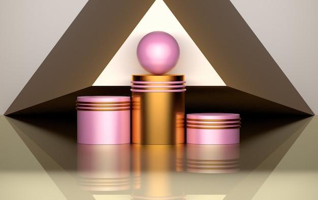 Composición geométrica con pedestales, anillos y esferas de color rosa dorado.