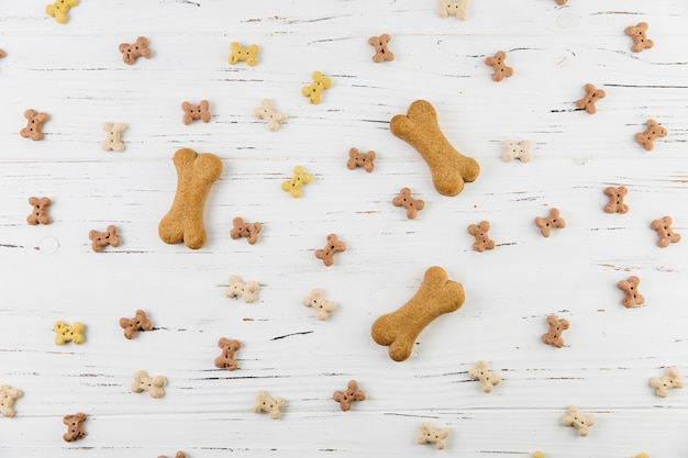 Composición con golosinas para perros sobre superficie blanca.