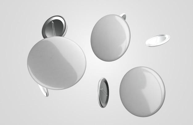 Composición de insignias 3d blancas en blanco