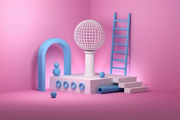 Composición de instalación abstracta con varias formas: escaleras, escaleras, columnas, tubos, esferas, arcos dispuestos en el podio. formas primitivas geométricas coloreadas en colores azul rosa.