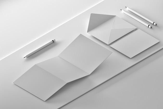 Composición isométrica con documentos de identidad de marca corporativa.