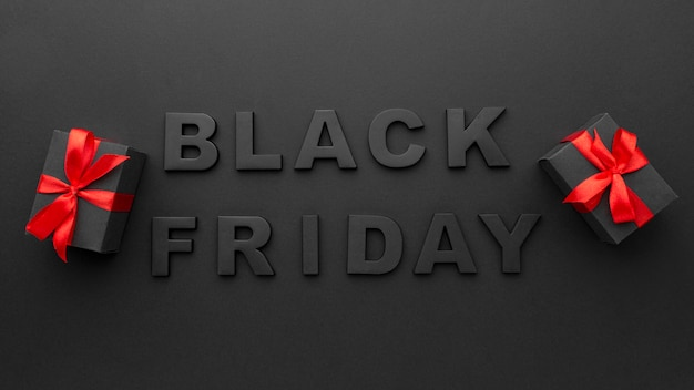 Composición de letras de viernes negro endecha plana