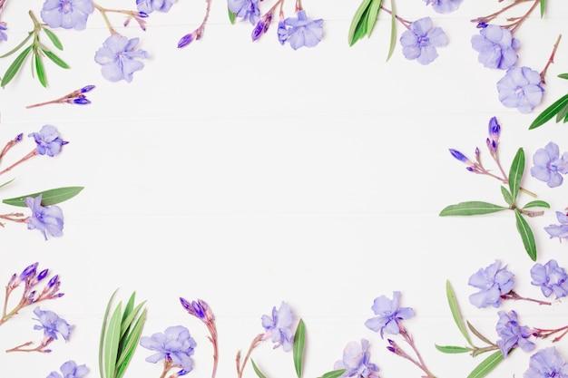 Composición de maravillosas flores azules y plantas.