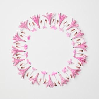 Composición de maravillosas flores rosadas en forma de círculo.