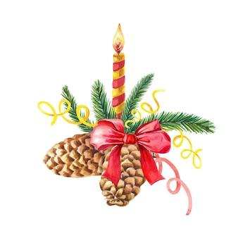 Composición de navidad acuarela con una vela, conos de abeto, ramas de abeto, lazo rojo. ilustración acuarela