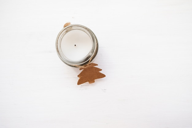 Composición de navidad candelabro de navidad, invierno, año nuevo concepto.