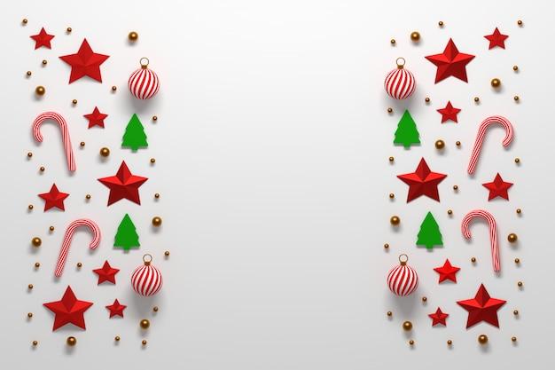 Composición navideña con bolas, estrellas y bastones de caramelo