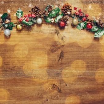 Composición navideña con espacio bokeh y copia.