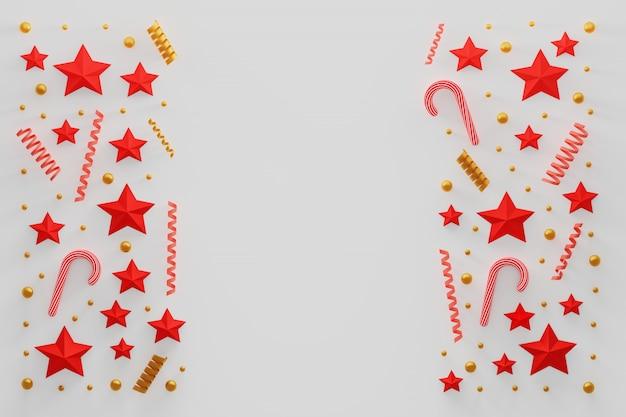 Composición navideña con espirales, estrellas, bastones de caramelo