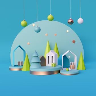 Composición navideña minimalista moderna, render 3d
