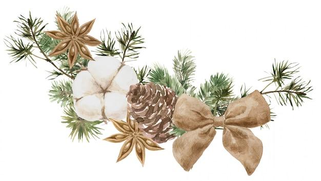 Composición navideña con ramas de pino y abeto, algodón, flor de anís y cono.