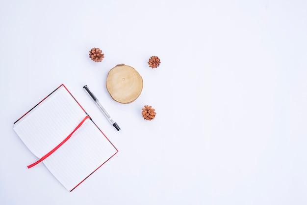 Composición de otoño. libro y bolígrafo, hojas secas sobre fondo blanco. otoño, concepto de otoño. endecha plana, vista superior, espacio de copia