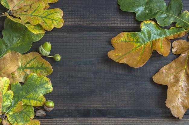 Composición de otoño. marco de borde de coloridas hojas de otoño sobre una madera oscura