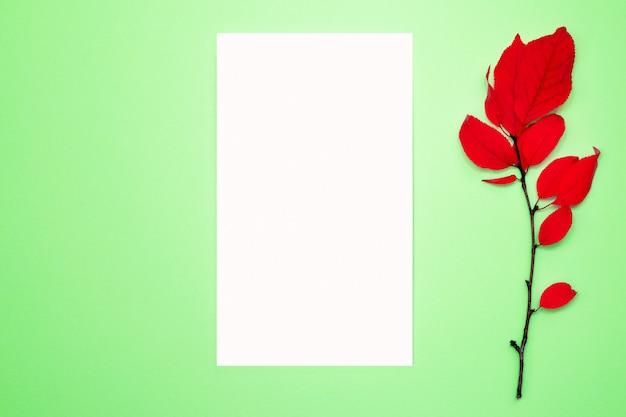 Composición de otoño, marco, papel en blanco. rama con hojas rojas, ciruela, sobre un fondo verde claro. endecha plana, vista superior, copyspace