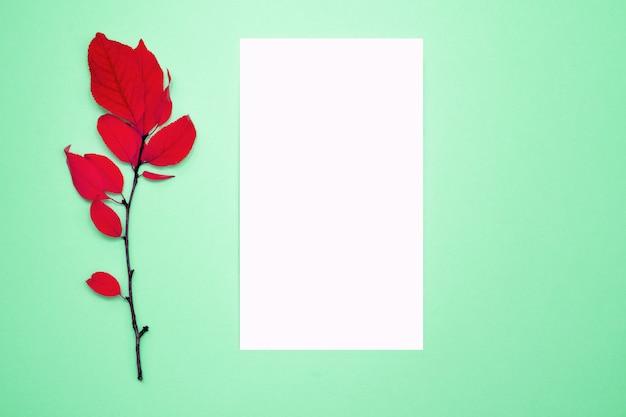 Composición de otoño, marco, papel en blanco. rama con hojas rojas, ciruela, sobre un fondo verde claro.