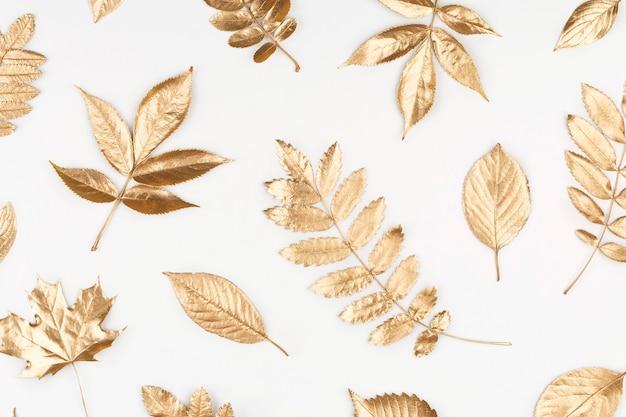 Composición de otoño patrón de hojas doradas otoñales sobre fondo blanco vista superior plana endecha