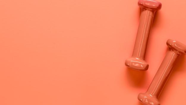 Composición de par de pesas de peso ligero rosa
