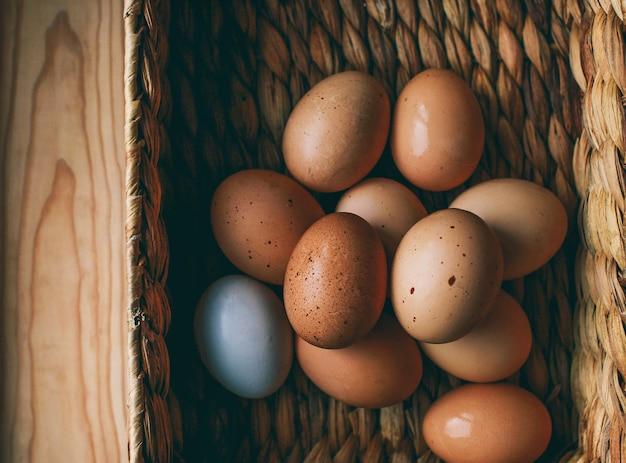 Composición de pascua los huevos de pascua se encuentran en una caja de huevos junto a las ramas verdes sobre un fondo claro de madera foto del concepto de pascua desde arriba