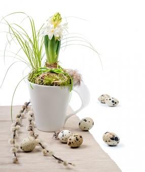 Composición de pascua con jacinto blanco en taza blanca