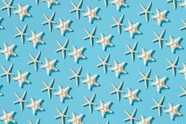Composición del patrón hecha con estrellas de mar
