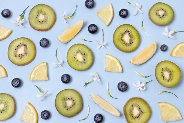 Composición plana de deliciosos productos maduros