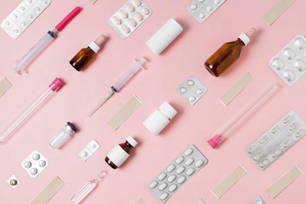 Composición plana de elementos médicos.