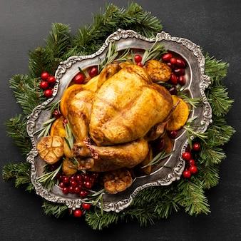 Composición del plato de pollo navideño