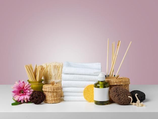 Composición de productos de spa de bienestar.