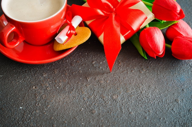 Composición romántica para el día de san valentín, cumpleaños o día de la madre.