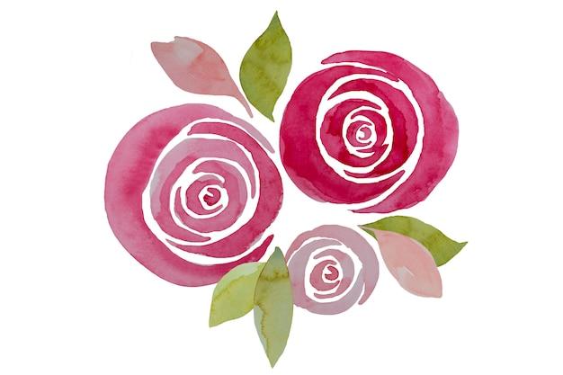 Composición rosada de las rosas de la acuarela, ilustración. elegantes flores pintadas a mano.