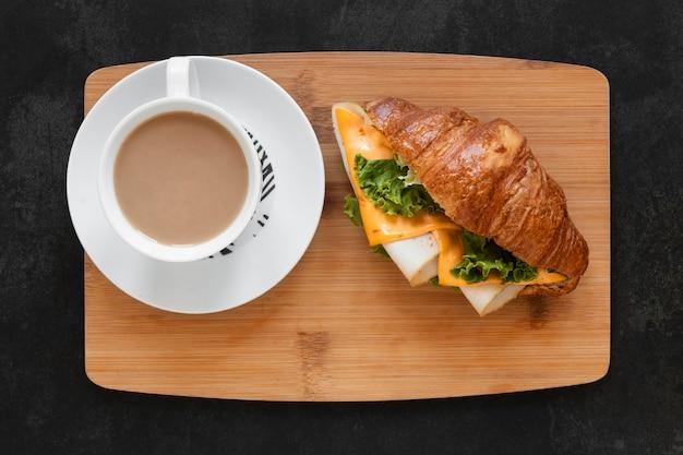 Composición de sándwiches saludables de vista superior
