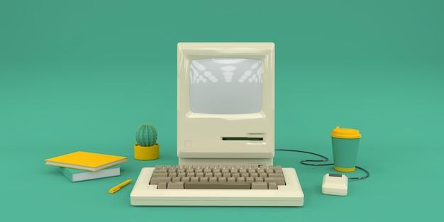 Composición simple con computadora vieja en render 3d verde