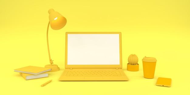 Composición simple en portátil de color amarillo para su texto y render 3d