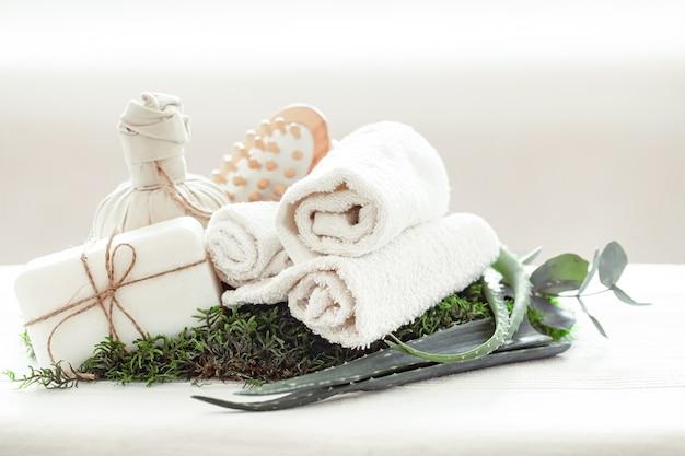 Composición de spa con aloe vera sobre un fondo claro con una toalla blanca retorcida.