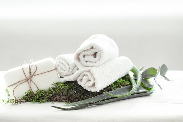 Composición de spa con aloe vera con una toalla blanca retorcida.