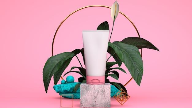 Composición de spa con artículos de cuidado corporal sobre un fondo rosa
