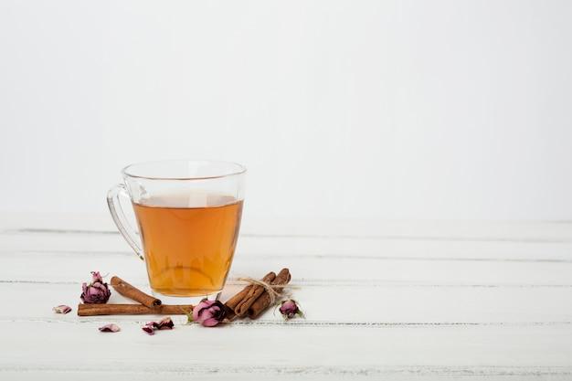 Composición de té con copyspace
