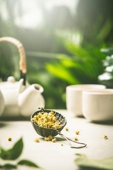 Composición del té en el fondo de hojas tropicales, de cerca
