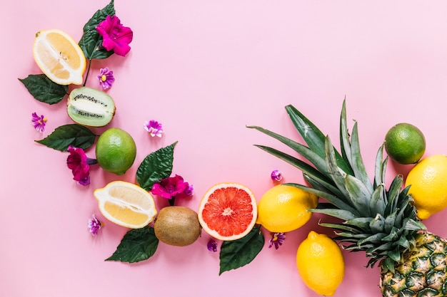Composición tropical en fondo rosado